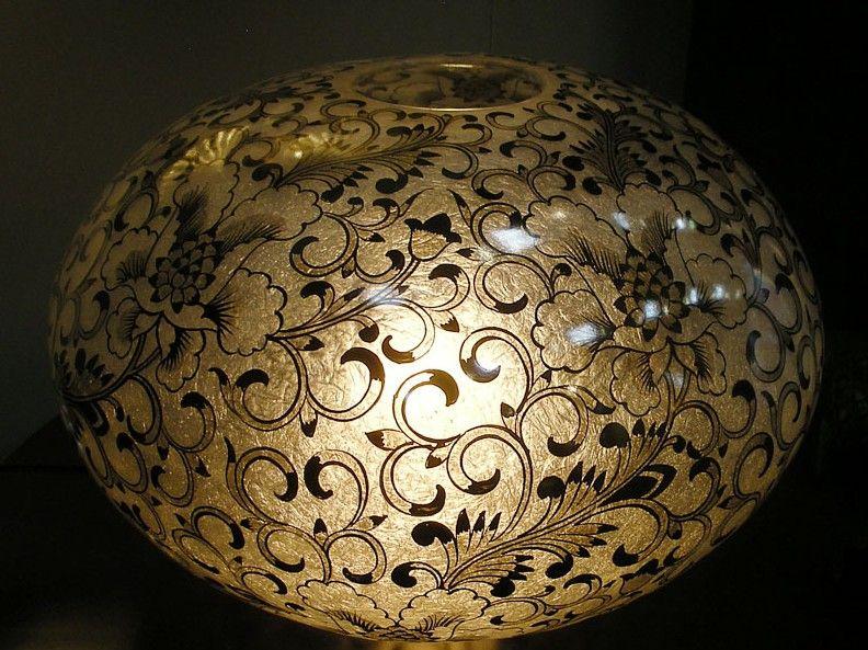 bodenlampe impression handbemalt d60 h35 cm exklusive wohnaccessoires raumduft und duftkerzen. Black Bedroom Furniture Sets. Home Design Ideas