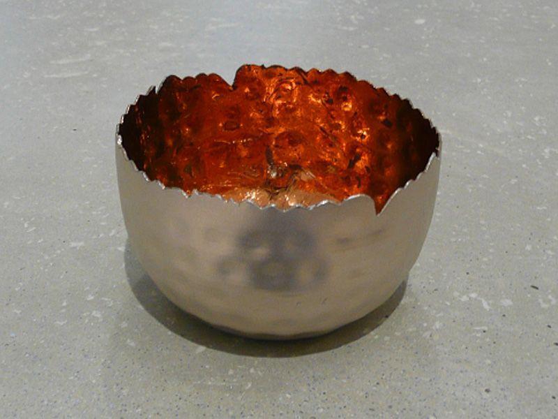 Metall Windlicht silber/kupfer antik D8 H5,5