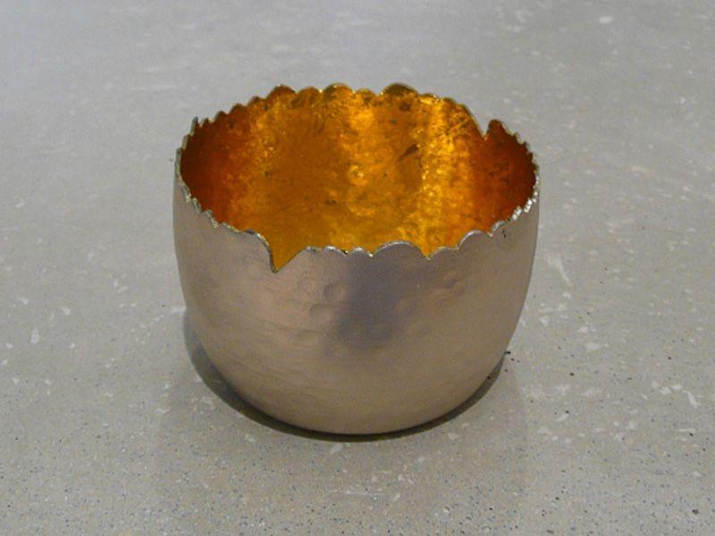Metall Windlicht silber/gold antik D8 H5,5