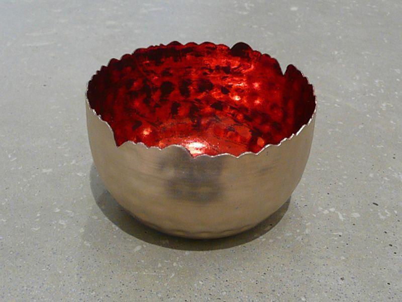 Metall Windlicht silber/rot antik D8 H5,5
