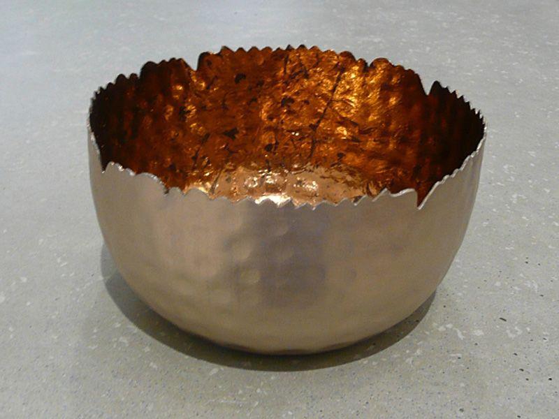 Metall Windlicht silber/kupfer antik D12 H7